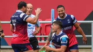 Bristol celebrate their try