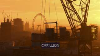 Skyline with construction workers and Carillion sign
