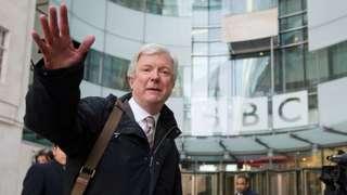 Tony Hall outside the BBC