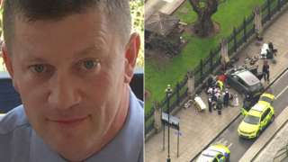PC Keith Palmer and scene of Westminster terror attack