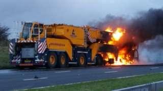 Crane on fire