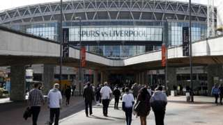 Fans arrive at Wembley