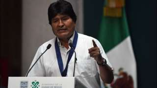 Bolivian ex-President Evo Morales delivers a speech in Mexico City on , on 13 November 2019