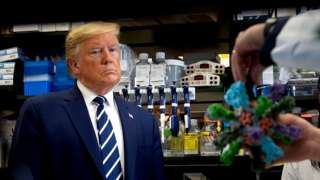 Trump speaking to scientists at a vaccine research centre