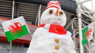 Snowman in Cardiff
