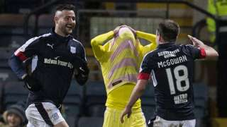 Marcus Haber (left) celebrates Dundee's winner