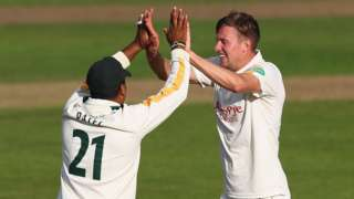 Samit Patel (left) and Jake Ball ended up with three wickets each as Notts beat Northants at Trent Bridge