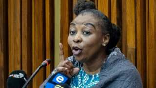 Nomia Rosemary Ndlovu gestures at the South Gauteng high Court in Johannesburg on September 27, 2021