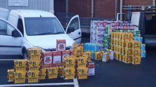 Two seized vans and £2000 worth of alcohol
