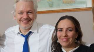 Undated handout photo issued by WikiLeaks shows Julian Assange with his partner Stella Morris