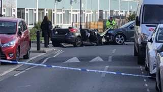 Crushed police car in Southwark
