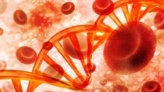 Ilustração de células sanguíneas e fitas de DNA