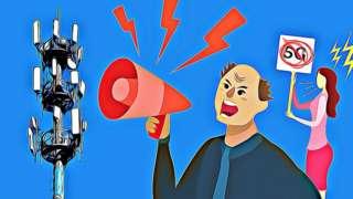Man shouting at a 5G tower