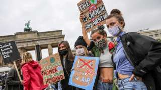 Climate activists gather on a day of action in Berlin, Germany