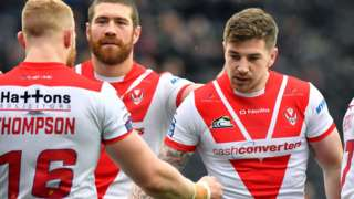 Mark Percival celebrates a try for St Helens