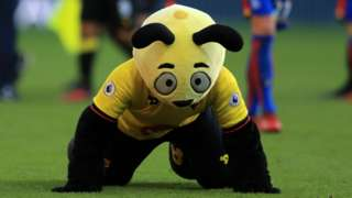 Watford mascot Harry the Hornet dives in front of Crystal Palace winger Wilfried Zaha to mock him for being booked for diving