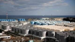 Storage tanks for radioactive water at Fukushima nuclear power plant