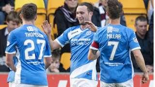 Chris Kane (centre) celebrates scoring for St Johnstone against Hearts
