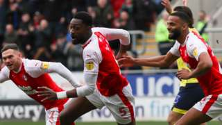 Rotherham celebrate Semi Ajayi's second goal