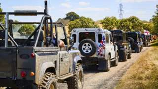 Parade of Land Rovers and Range Rovers at the Billing Off Road Show near Northampton.