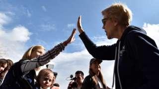 Democratic presidential candidate Sen. Elizabeth Warren (D-MA) greets supporters