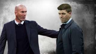 Rangers manager Steven Gerrard and ex-Real Madrid boss Zinedine Zidane