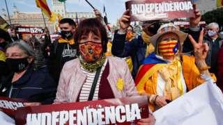 西班牙巴塞罗那支持独立的示威游行