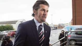 Joey Barton arriving at Ibrox for talks on Thursday