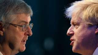 Mark Drakeford and Boris Johnson