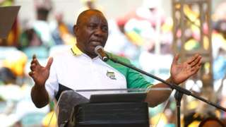 South African President Cyril Ramaphosa speaks during the election manifesto launch of the African National Congress in Durban on 12 January 2019