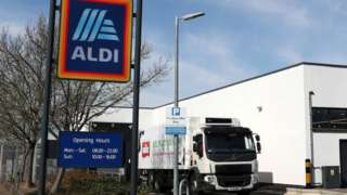Aldi sign and lorry