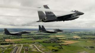 F-15E Strike Eagles assigned to the 494th Fighter Squadron