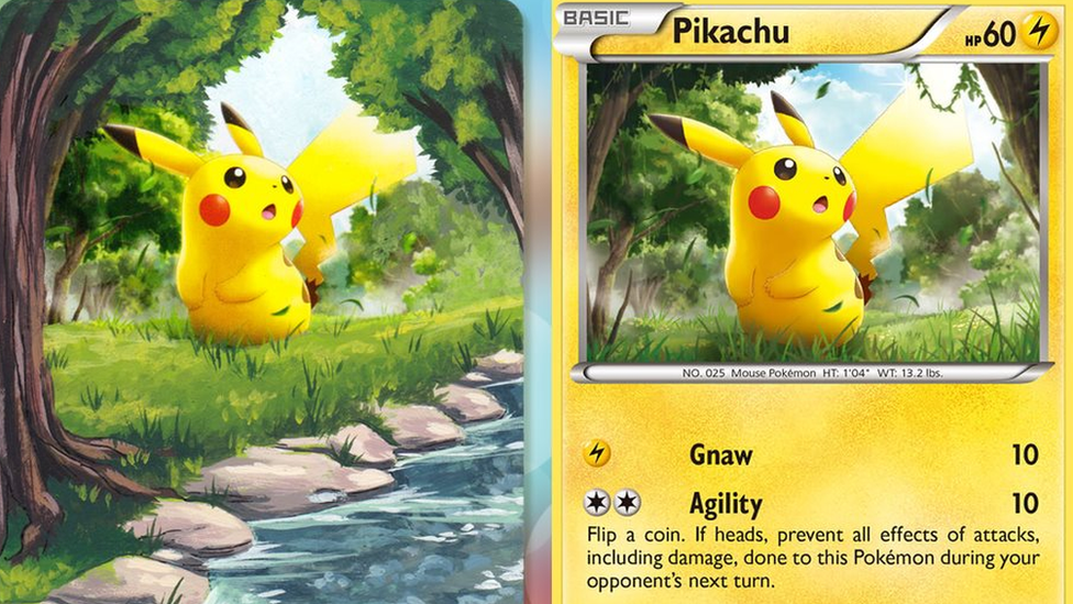A Pokemon card of Pikachu, beside a painting on the same card