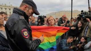 Пикет ЛГБТ-активистов в Санкт-Петербурге