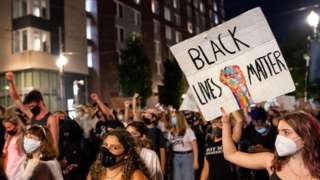 Protest in Portland with BLM sign
