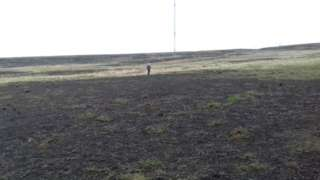 Scarred moorland with Winter Hill transmitter in background