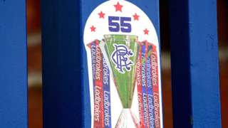 A sign at Ibrox marking Rangers' Premiership title