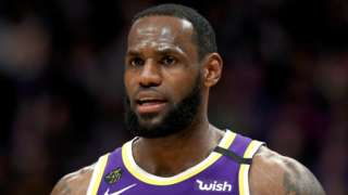 Basketball star LeBron James playing for the Los Angeles Lakers