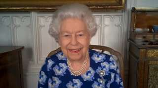 The Queen speaking to volunteers on a Zoom call