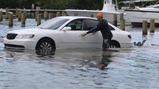 A flooded car park in Miami Beach on 30 August 2019