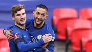 Chelsea's Hakim Ziyech (right) celebrates with Timo Werner