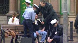 An injured man is treated