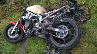 Burnt motorbike