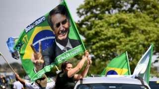 Jair Bolsonaro flag at rally in Brasilia, 6 October 2018