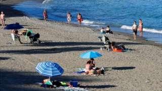 Beach in Benalmadena, southern Spain, 7 June 2021