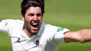 Jamie Overton of Somerset celebrates a wicket