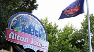 Alton Towers sign and flag