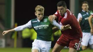 Hibs' Oli Shaw and Aberdeen's Scott McKenna