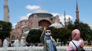 Visitors to the Hagia Sophia in Istanbul