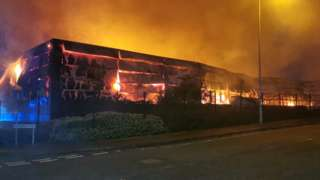 The Abbey Upholsterers factory on fire